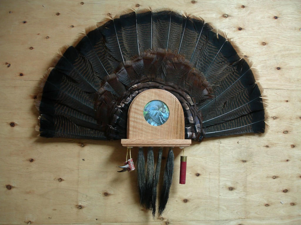 Personalized turkey tail fan and beard plaque
